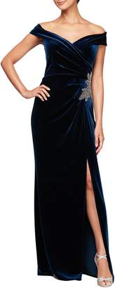Alex Evenings Off Shoulder Velvet Gown