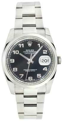 Rolex Datejust 116200 Oyster Stainless Steel Black Arabic Dial Smooth Bezel Mens Watch