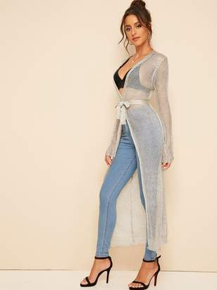 Shein Sheer Open Front Belted Long Cardigan
