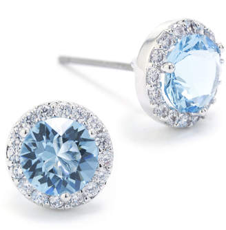 Swarovski SPARKLE ALLURE Sparkle Allure Crystal Halo Blue Pure Silver Over Brass 8.5mm Round Stud Earrings