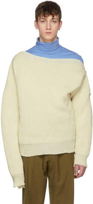 Raf Simons Off-White Boatneck Buckles Sweater