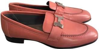 Hermes Paris Pink Leather Flats