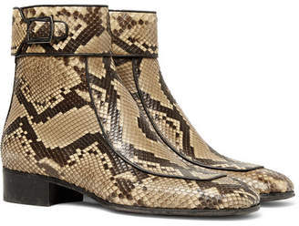 Saint Laurent Miles Leather-Trimmed Python Boots - Men - Brown