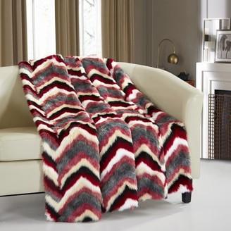 Chic Home Titay Throw Blanket Faux Fur Super Soft Ultra Plush Striped