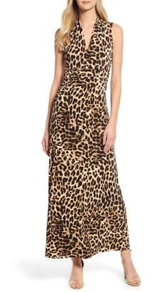 Vince Camuto Exotic Animal Print Halter Neck Maxi Dress