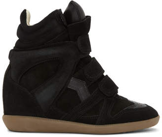 Isabel Marant Black Beckett Wedge Sneakers