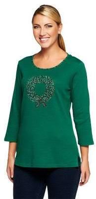 Factory Quacker Sparkle & Shine Holiday Motifs 3/4 Sleeve T-shirt