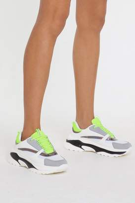 Nasty Gal Light's Out Neon Chunky Sneakers