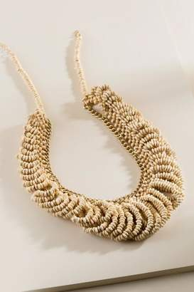 francesca's Becca Wood Beaded Statement Necklace - Beige