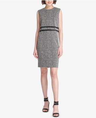 DKNY Fringe-Trim Tweed Sheath Dress