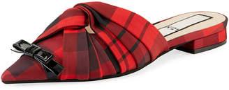No.21 No. 21 Flat Tartan Plaid Mule Slides