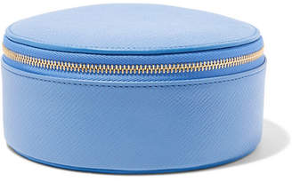 Smythson Panama Textured-leather Jewelry Case - Light blue