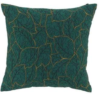 DecMode Decmode Modern 17 X 17 Inch Green Throw Pillow With Leaf Patterns