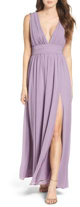 LuLu*s Plunging V-Neck Chiffon Gown