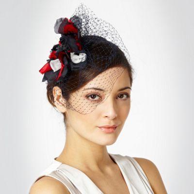 Navy meshed veil headband