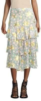 The Kooples Floral-Print Skirt