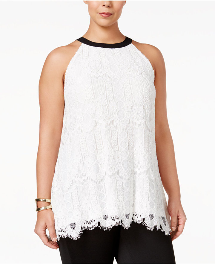 Alfani Alfani Plus Size Bow-Back Lace Top, Only at Macy's
