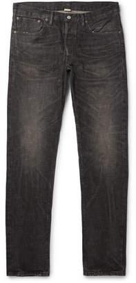 Slim-Fit Distressed Selvedge Denim Jeans