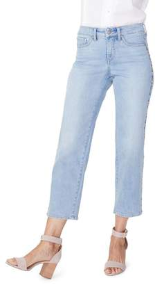 NYDJ Jenna High Waist Embroidered Seam Ankle Straight Leg Jeans