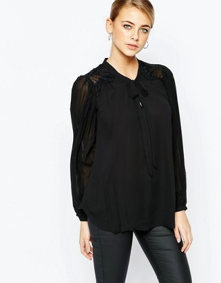 Oasis Pleat Pussy Bow Blouse $69 thestylecure.com