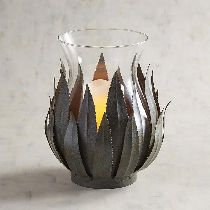 Metal Agave Leaves Hurricane Candle Holder