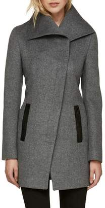 Soia & Kyo Slim Fit Asymmetrical Wool Blend Coat
