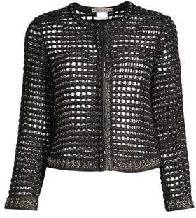 Alice + Olivia Kidman Studded Leather Cropped Jacket