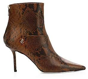 Jimmy Choo Women's Beyla Snake-Embossed Leather Point-Toe Booties