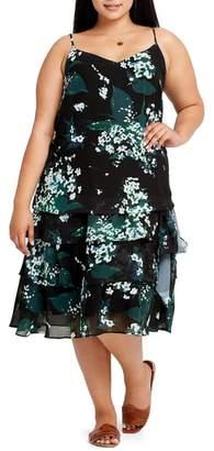 ELVI Beryl Floral Tiered Slipdress