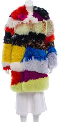 Saint Laurent Patchwork Fox Coat