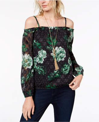 INC International Concepts I.N.C. Printed Cold-Shoulder Blouse, Created for Macy's