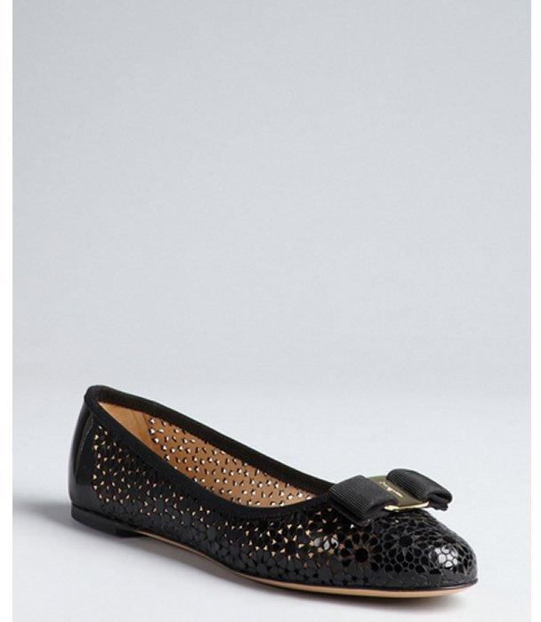 Salvatore Ferragamo black patent leather floral cutout bow embellished 'Shelly' flats