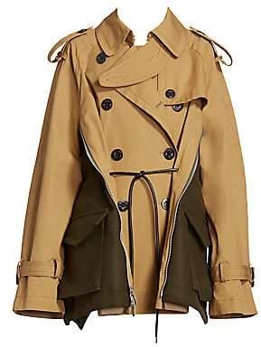 Sacai Women's Mixed-Media Trench Jacket