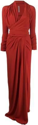 Rick Owens draped woven maxi dress