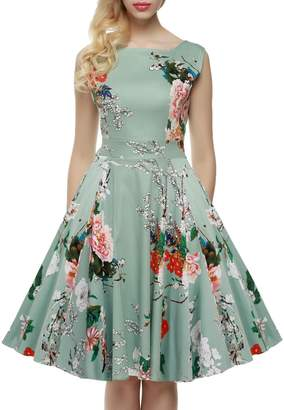 Dethler Womens Vintage 1950's Sleeveless Floral Spring Garden Party Picnic Dress