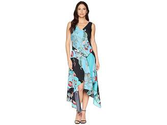 Taylor Asymmetrical Hem Mixed Print Sleeveless Dress Women's Dress