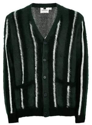 Topman Mens Black Green Stripe Brushed Cardigan