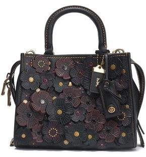 Coach Floral-appliqued Leather Tote