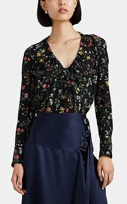 Altuzarra Women's Bowie Floral Silk Drawstring-Neck Blouse - Black Pat.