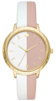 Kate Spade Morningside Scallop Leather Strap Watch, 38mm