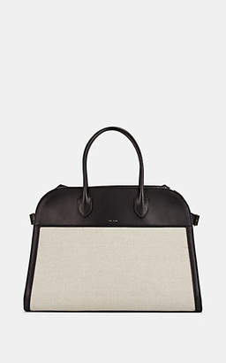 The Row Women's Margaux 15 Leather-Trimmed Canvas Satchel - Natural, Blk