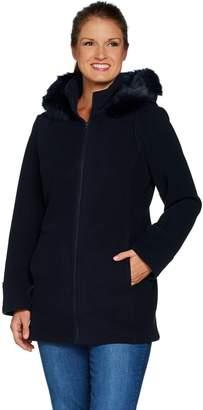 Susan Graver Bonded Polar Fleece Zip Front Jacket w/ Hood