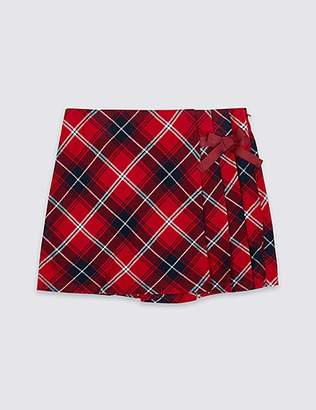 Marks and Spencer Pure Cotton Checked Skort (3-16 Years)