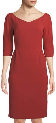Lafayette 148 New York Alexia Half-Sleeve Knit Sheath Dress, Red