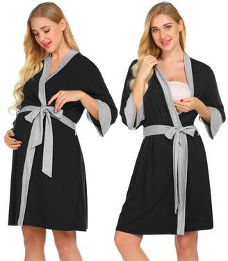7f4cc67cf6 Ekouaer Nursing Bathrobe 3 4 Sleeve Maternity Robes Comfy Delivery Kimono
