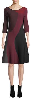 Nic+Zoe Round-Neck 3/4-Sleeve Colorblock Twirl Dress, Plus Size
