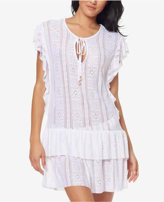 Jessica Simpson Crochet Waist-Frill Ruffle Detail Tunic Cover-Up Women Swimsuit