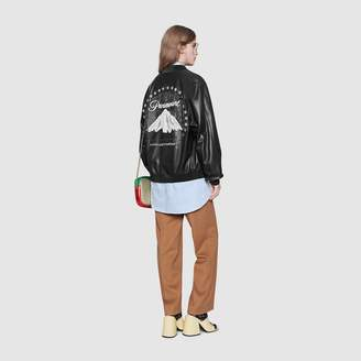 Gucci Leather bomber with Paramount logo