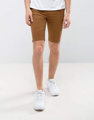 New Look Skinny Fit Chino Shorts In Tan