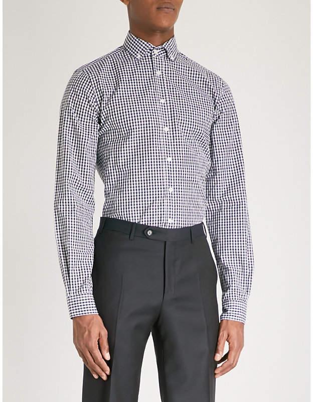DUCHAMP LONDON Gingham tailored-fit cotton shirt